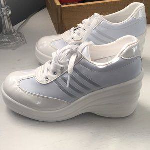 Shoes - WHITE FAUX LEATHER PLATFORM SNEAKERS